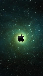 Apple-Logo-On-Galaxy-Background-iPhone-5-Wallpaper