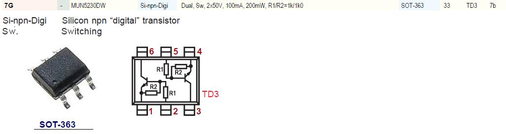 Код 7G 6-pin smd