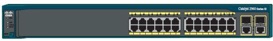 Передняя панель коммутатора Catalyst 2960-24TC-S