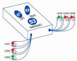 Схема светодиодных указателей для велосипеда